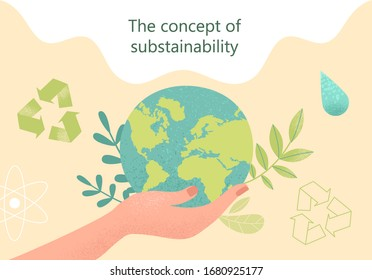 Concept of sustainability or environmental protection. Vector illustration