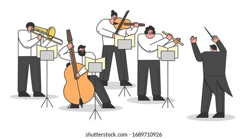 Concept Of Symphony Orchestra. Musicians Are Playing Different Musical Instruments. Musical artists Play Instrumental Symphony Led By Conductor. Cartoon Linear Outline Flat Style Vector Illustration