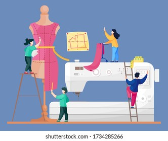 The concept of tailoring fashionable clothes. A team of seamstresses is working on a model of a new dress. Sewing machine, big mannequin and tiny dressmakers. Creative atelier. Vector illustration
