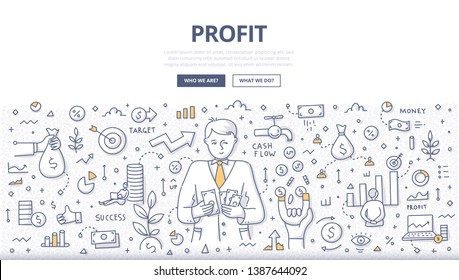 Concept of taking profit. Businessman counts money earned. Financial management, business growth, cash flow. Doodle illustration for web banners, hero images, printed materials