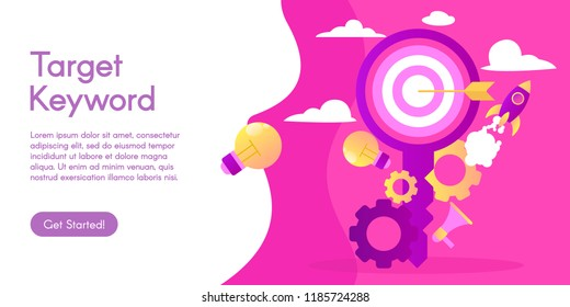 Concept of target keyword, vector illustration in flat design.