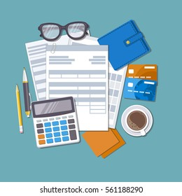 Concept of tax payment and invoice. Forms, documents, wallet, credit cards, calculator, pen, pencil, coffee, glasses, stickers for notes. Vector illustration.