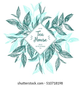 Concept tea vector illustration. Tea leaves frame illustration. Menu label with tea leaves. Linear graphic.