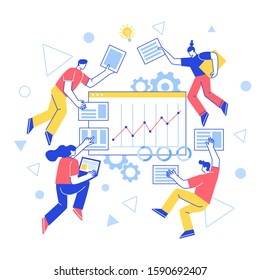 The concept of team building. Teamwork. Vector characters work together, create a website . Increase working productivity. For web, banner, mobile app, landing page, vector flat design.