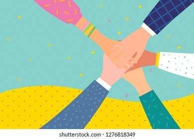 Concept of team work. Friends with stack of hands showing unity and teamwork, top view. People putting their hands together. International team building group of different race business partners.