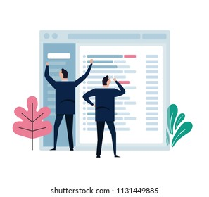 Concept of team work represent in small character working on big email application screen. Develop manage software design. vector illustration