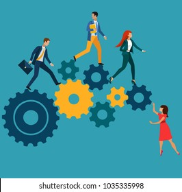 Concept of teamwork building working system of cogwheels with employees team. Vector illustration.