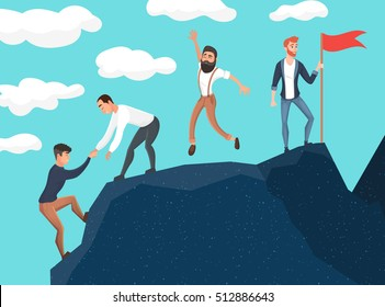 Concept of teamwork. Business people in mountains. Leader on the top. Vector illustration in flat cartoon style.