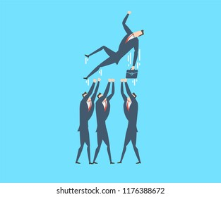 The concept of teamwork. A group of businessmen throws their leader on their hands