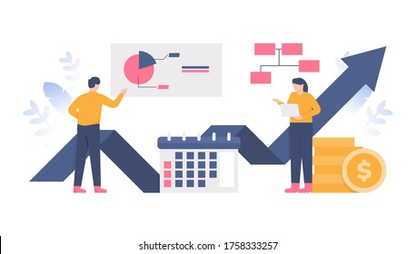 the concept of teamwork, team management, data analysis, process data. illustration of a group working together to increase monthly income. flat design. can be used for elements, landing pages, UI
