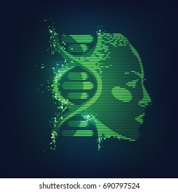 concept of technology advancement, dna symbol combined with human face