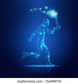 concept of technology revolution, abstract wirefrmae man running with torch in the hand