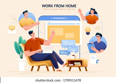 Concept of telecommuting and work from home, designed with a team discussing wonderful ideas through online meeting and maintaining their productivity