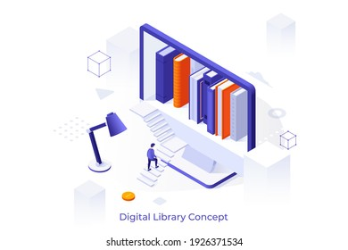 Concept template with man ascending stairs to enter screen with bookshelf inside. Scene for digital library in your computer, online service for books reading. Isometric vector illustration.
