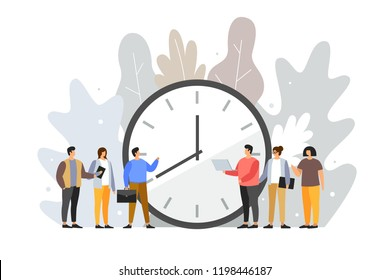 Concept of term and time. Deadline. Cartoon young people stand around the dial of a large watch. Time management planning. Time is money. Vector flat illustration.