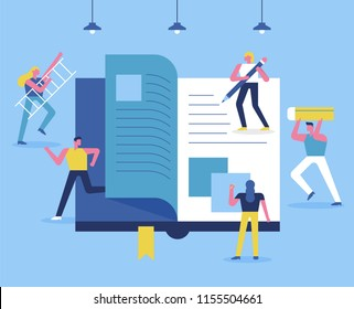 The concept that downsized people are making huge books. flat design style vector graphic illustration set