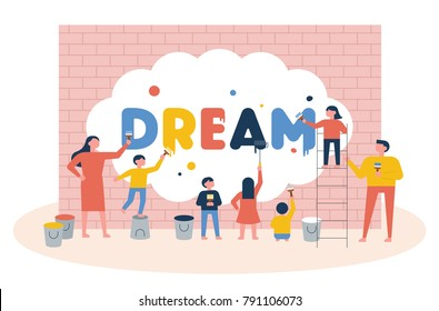 The concept that teachers and children draw dreams on the wall. vector illustration flat design