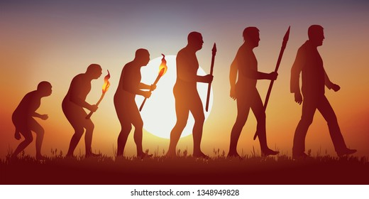 Concept of Darwin's theory of evolution, illustrated with the transformation of the human silhouette from primitive man to modern man.