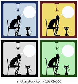 Concept of thinking man with cat silhouette. Vector illustration.