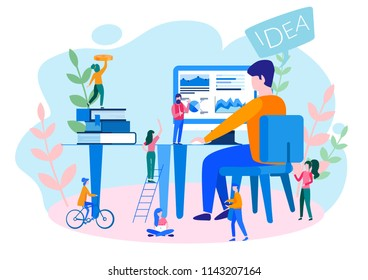 Concept thoughts and analytics for web page, banner, presentation, social media. rise career to success. Vector illustration, Start up, people are thinking over an idea