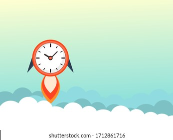 The concept of time flies. The clock is flying in the air, amid clouds