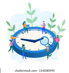 Concept time management, Businessman working on isometric clock for web page, banner, presentation, social media, documents, cards, posters. Vector illustration, Organization of process. team work