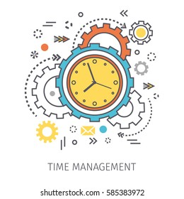 Concept of time management. Clock with gears and icons in the style of line art. Vector illustration.