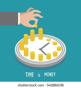 Concept of time management. Time is money, business planning. Vector concept illustration.