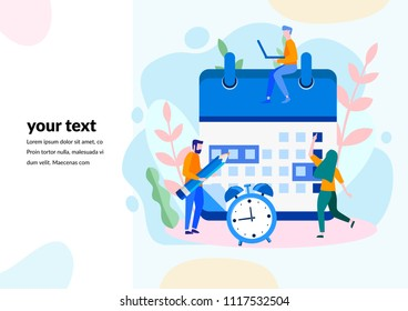 Concept Time management, planning events for web page, banner, presentation, social media, documents, cards, posters. Deadline, planning schedule Vector illustration organization, time optimization