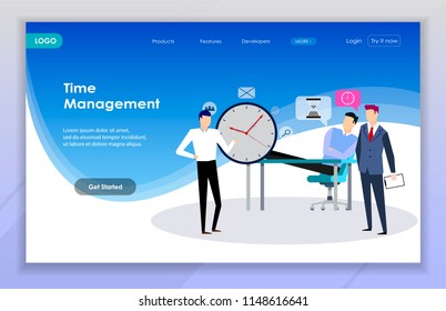 Concept of time planning. Time management. Business team planning time.  Landing page.vector