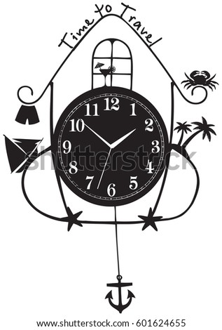 Concept Time Travel Wall Clock Symbols Stock Vector Royalty Free