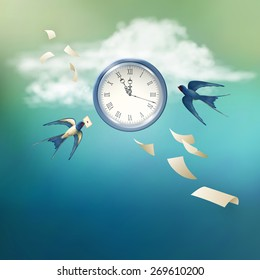 Concept of time vector abstract metaphor background. Free flying bird swallow in the sky, white clouds, antique clock, flying paper sheets