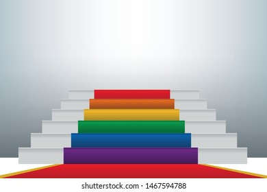 Concept of tolerance towards homosexuals with a staircase covered with the flag in the colors of the gay community which symbolizes the progress of their integration in the society.