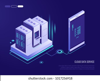 Concept of transferring data from phone to database.Cloud data service. 3d Isometric vector illustration