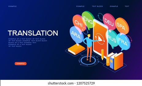 Concept of translating and interpreting for web banners.Concept on-line learning and teaching on theme of foreign languages. 3d isometric vector illustration.