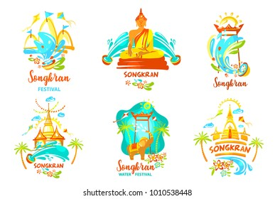 Concept for travel agency, company, bureau. Template banner poster, flyer with text Songkran Festival. Spring Songkran festival with elephant and water. Happy party in Thailand. Vector illustration.
