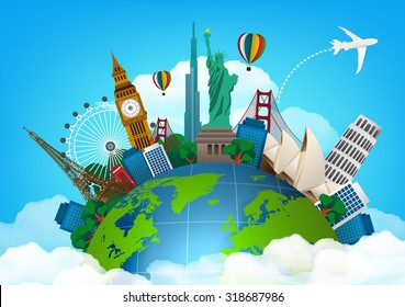 The concept of travel. famous monuments of the world. vector