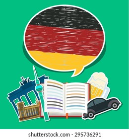 Concept of travel or studying German. Open book with hand drawn German flag and German symbols. Flat design, vector illustration