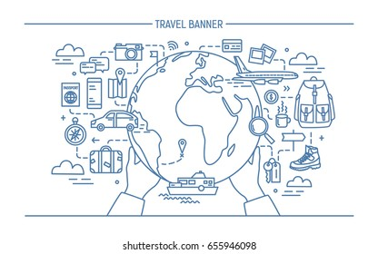 Concept of travel and tourism. Horizontal advertising banner with earth, globe, transport, things necessary traveler. Contour vector illustration in lineart style.