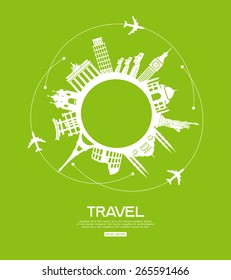 concept of traveling around the world. Famous international landmarks.