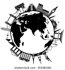 The concept of traveling around the world. Famous international landmarks