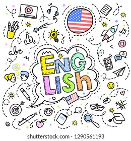 Concept of traveling or studying English. American flag and letters in speech bubble with line art icons. Flat design, line art vector illustration.