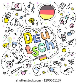 Concept of traveling or studying German. German flag and face with line art icons. Flat design, line art vector illustration.