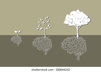 concept of tree with brain root, paper cut style.