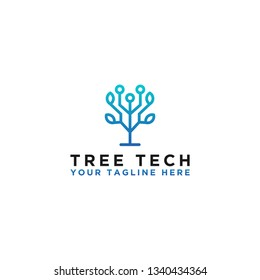 the concept of tree logo technology, design of network technology. - Vector