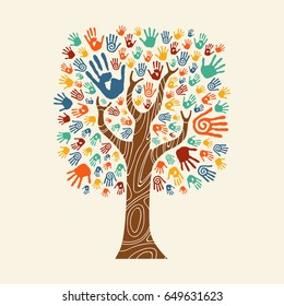 Concept tree made of colorful hand print art. Diverse community concept for social help, teamwork or charity. EPS10 vector.