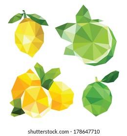 concept triangle lemon and lime set