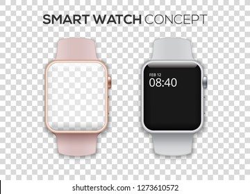 Concept of two colored smart watches - pink and silver with big empty screens. High quality vector illustration isolated on transparent background.