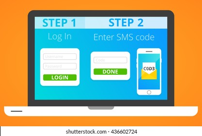 Concept of two factor authentication via SMS. Vector, eps 10.