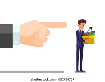 Concept of unemployment, crisis, jobless and employee job reduction. Dismissed frustrated business man holding a box with his things. Flat design, vector illustration.